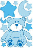 Blue Teddy Bear Wall Decals Stickers