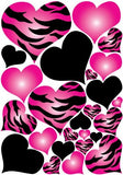 Hot Pink Radial, Zebra Print Heart Wall Decals Stickers/Jungle Safari Hearts Wall Decor