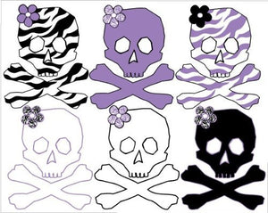 Skull Wall Stickers / Decals Purple and Zebra Print