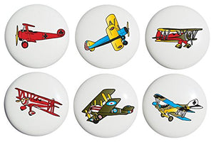 Vintage Airplane Drawer Pulls / Ceramic Handle Knobs / Set of 6