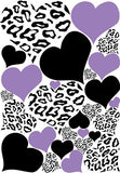 Leopard Print Hearts in Purple and Black Wall Stickers / Decals
