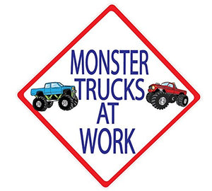 Monster Truck Wall Decals/ Street Sign Wall Decals Monster Trucks At Work Truck Wall Stickers