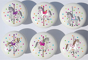 Carousel Horse Drawer Pulls / Horse Ceramic Cabinet Drawer Knobs / Set of 6