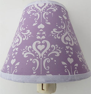Damask Night Light / Purple and White Children's Wall Decor