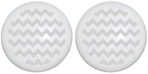Light Grey Chevron Print Drawer Knobs/Ceramic Cabinet Pulls Gray Chevrons Nursery Decor (Set of Two)