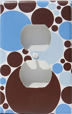 Blue and Brown Polka Dot Outlet Cover Switch Plate / Polka Dot Wall Decor