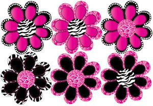 Hot Pink Zebra and Leopard Print Animal Print Octi- Petal Flower Wall Stickers, Wall Decals