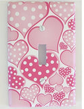 Polka Dot Pink Pastel Heart Light Switch Plate Covers