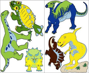 Dinosaur Wall Stickers Decals in Blue Green Yellow Brown