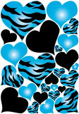 Blue Radial Zebra Print Hearts Wall Sticker Decals on a 18in by 25in sheet