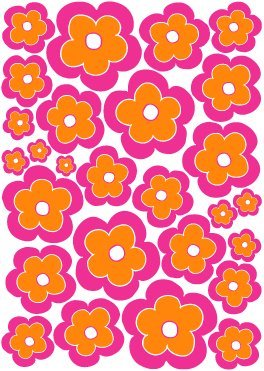 Hot Pink and Orange Flower Wall Decals