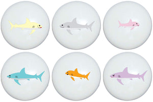 Family of Sharks Drawer Pulls/Children's Decor Shark Furniture Ceramic Cabinet Handle Knobs/Set of 6