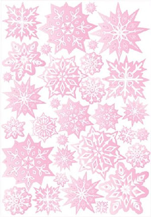 Pink Snow Flakes Wall Stickers / Wall Decor / 32 Total Snowflake Wall Decals