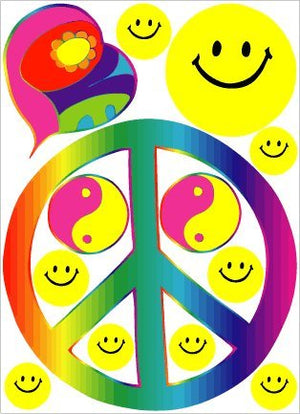 Sixties Rainbow Theme Peace Sign Wall Stickers, Decals