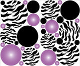 Purple Radial Zebra Print Dot Wall Decals / Zebra Print Polka Dots Wall Decals