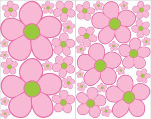 Pink with Green Daisy Flower Wall Decals, Stickers, / Flower Wall Decor
