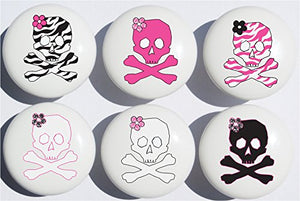 Zebra Print Skull Drawer Pulls / Ceramic Skulls Drawer Knobs, Set of 6