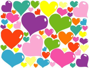 Bubble Heart Wall Stickers / Heart Wall Decals , in Hot Pink, Purple, Pink, Red, Blue, Green, Orange and Yellow