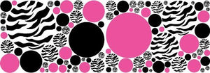 Zebra Print, Black and Hot Pink Dots Wall Decals /Zebra Wall Stickers