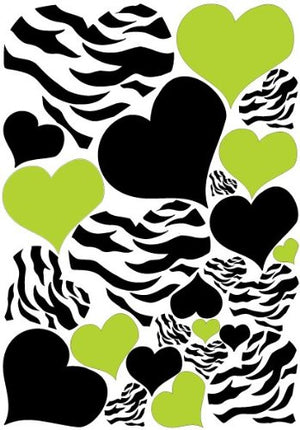 Zebra Print Heart Wall Decals with Black and Green Heart Wall Stickers, Graphics