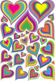 29 Rainbow Heart Wall Decals/Stickers/Decor on one 18in. by 24in. sheet.
