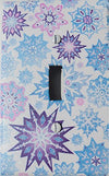 Single Toggle Multicolored Snowflake Light Switch Plate Covers/Purple, Pink, and Blue Snow Flake Wall Decor