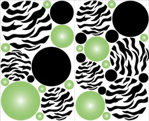 Zebra Print Green Radial Dot Wall Decals / Stickers / Decor