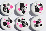 Zebra Print Dot Drawer Pulls / Zebra Ceramic Drawer Knobs , Set of 6