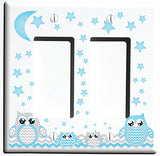 Grey and Blue Owl Light Switch Wall Plate and Owl Outlet Covers/Owl Nursery Decor