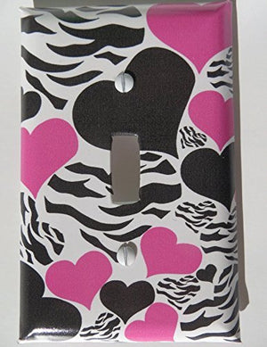 Zebra Print Hearts Light Switch Plate Covers / Childrens Wall Decor in Hot Pink and Black