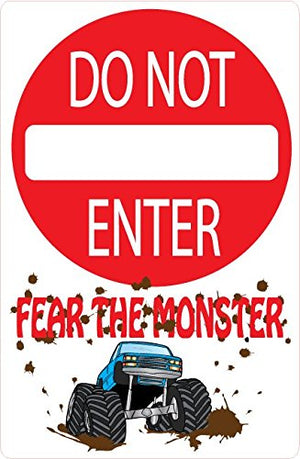 Monster Truck Wall Decals / Do Not Enter Fear the Monster Truck Street Sign Wall Decals / Sticker