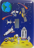 Outer Space Light Switch Plate Covers Moon, Lunar Lander, Astronauts, Stars, Comets, Planet Earth, Spaceships