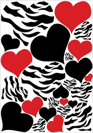 Zebra Print, Red and Black Heart Wall Stickers, Decals, Graphics