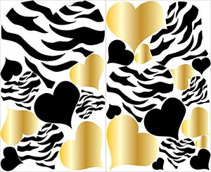 Gold Zebra Print Heart Wall Decal / Gold and Black Wall Stickers