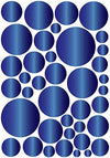 Jeweled Blue Saphire Polka Dots Wall Decals / 39 Polka Dot Wall Stickers
