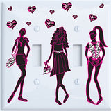 Runway Fashion Models Light Switch Plate and Outlet Covers with Zebra Print Hearts / Zebra Print Wall Decor