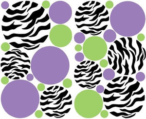 Zebra Print Dots Purple Green Wall Stickers / Decals / Decor