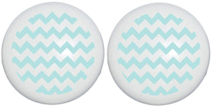 Sea Foam Green Chevron Print Drawer Knobs Ceramic Cabinet Pulls Chevrons Nursery Decor (Set of Two)