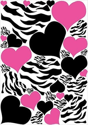 Zebra Print, Black and Hot Pink Heart Wall Stickers, Decals, Graphics 34 Heart Wall Decals