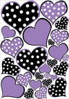 Purple and Black Polka Dot Heart Wall Decals Stickers