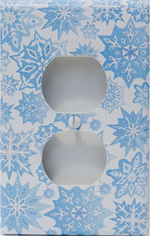 Snow Flakes Outlet Switch Plate Cover in Ice Blue/Snowflake Wall Decor