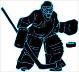 Hockey Goalie Wall Decals / Hockey Wall Stickers in Black with Blue