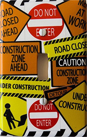 Construction Sign Light Switch Plate Cover / Street Sign Switch Plate Wall Decor (Single Toggle)
