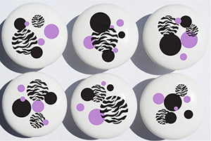 Purple Black and Zebra Print Dot Drawer Pulls/Zebra Ceramic Drawer Knobs, Set of 6