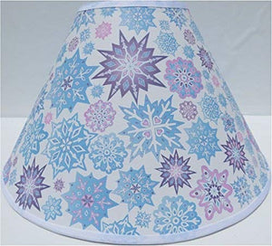 Snowflake Lamp Shades/Children's Snowflake Lamp Shade with Pink, Purple and Blue Snow Flakes