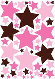 Pink and Brown Star Wall Stickers / Decals / Decor