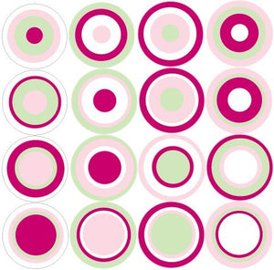 Multi Dots Cranberry, Pink , Green, and White Wall Stickers