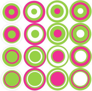Multi Dots Wall Stickers Hot Pink, Lime Green, White