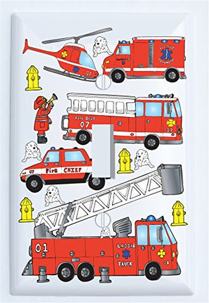 Fire Trucks Light Switch Plate Cover Single Toggle/Fire Engines/Firetruck Wall Decor