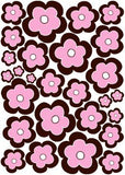 27 Pink and Brown Flower Wall Stickers